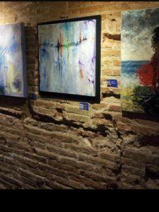 mostra opere arte a Barcelona - quadri astratti di piccolo formato