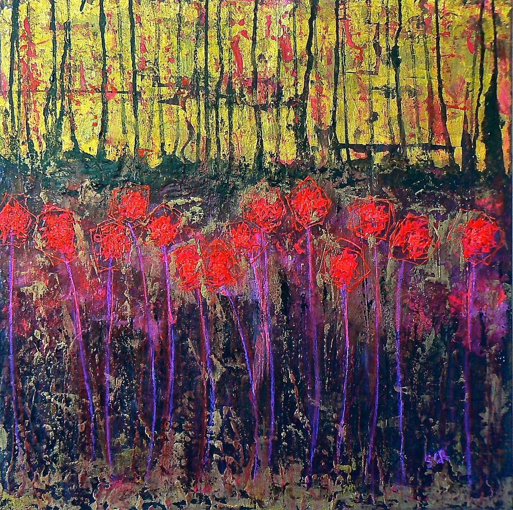 quadri con fiori rossi